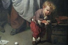 Broken Eggs, Detail of a child wiping his hands