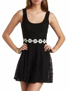 Daisy Chain Lace Skater Dress - Charlotte Russe