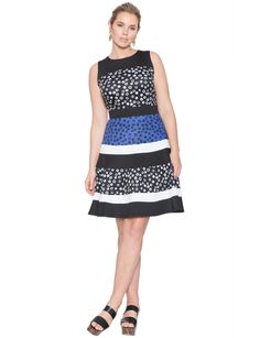 Studio Mixed Print Fit and Flare Dress | Women's Plus Size Tops | ELOQUII