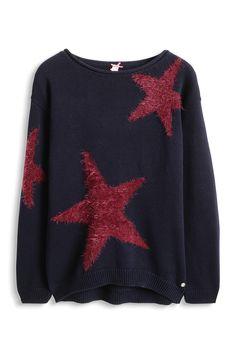 Esprit - Baumwollpulli mit flauschigen Sternen im Online Shop kaufen