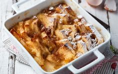 Vanilla bread and butter pudding with apricot jam