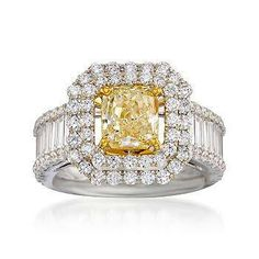 Diamond and yellow ring
