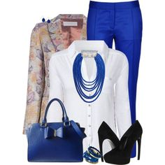 """""""Blue Dressy Work Pants"""" by daiscat on Polyvore"""