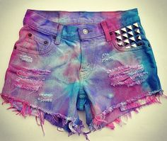 Colorful denim high waist shorts
