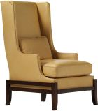 Inspired by Danish modernism. Tight back with a kidney pillow and a loose seat. Thin wing converges to an equally thin arm. Cradle reminiscent of Asian palanquin. Nailheads for punctuation.<br><br>This architectural wing chair displays more character than most accent chairs. The simplicity of the slim upholstery and the standout cradle contrast with the profile of a sinuous double-cut arm. Casual and couture, like jeans with designer heels. More comfortable than it appears. A den or library…