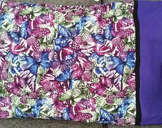 One pillow case available Purple butterflies Standard size  Cotton fabric