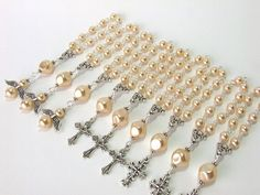Rosary Favors Cream Pearl Mini Rosary Handmade by AngelRosaries