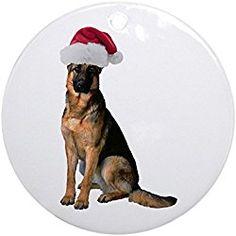 Santa German Shepherd Ornament (Round) - Round Holiday Christmas Ornament