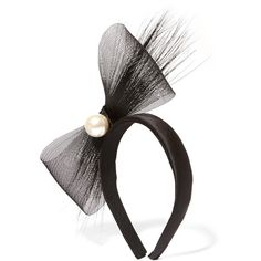 Eugenia Kim Tiana feather-trimmed embellished tulle and satin headband (1.657.875 IDR) ❤ liked on Polyvore featuring accessories, hair accessories, black, satin headbands, bow hair accessories, braided headwrap, head wrap headband and headband hair accessories