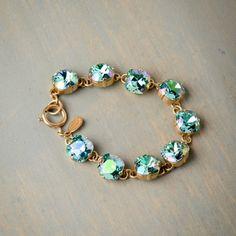 Ocean Green Chunky Crystal Bracelet by Catherine Popesco