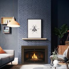 This modern gas fireplace insert with black fluted glass looks gorgeous paired with the navy painted brick fireplace surround. Need a fireplace renovation that works with your modern style? The Heat & Glo Cosmo gas insert can be professional installed in as little as a day. Talk about an easy living room makeover! Indoor Gas Fireplace, Linear Fireplace, Brick Fireplace, Fireplace Surrounds, Modern Gas Fireplace Inserts, Fireplace Fronts, Natural Shelves, Wood Mantels, Minimalist Decor