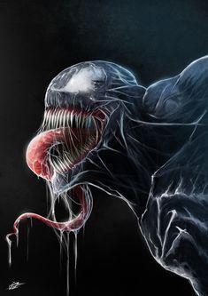 Marvel Drawing Venom by Danial Shahzad - Drawing Cartoon Characters, Character Drawing, Comic Character, Cartoon Drawings, Cool Drawings, Univers Marvel, Marvel Venom, Marvel Dc Comics, Venom Comics