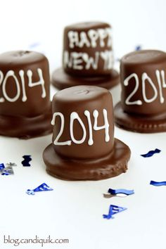 New Years Chocolate Party Hats! So simple and cute.
