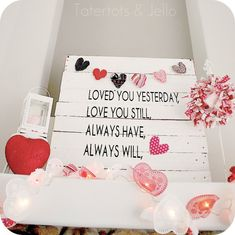 tatertots and jello pallet valentines mantel