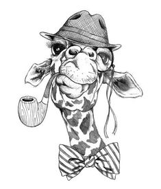 Temporary tattoo of a hipster giraffe with a hat, a pipe and a bow tie. - Temporary tattoo of a hipster giraffe with a hat, a pipe and a bow tie. Giraffe Drawing, Giraffe Art, Cartoon Giraffe, Giraffe Painting, Animal Sketches, Animal Drawings, Pencil Art Drawings, Drawing Sketches, Desenho New School