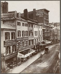 Boston, Massachusetts. Washington Street, east side, between Milk and Franklin Streets, before 1872 by Boston Public Library, via Flickr
