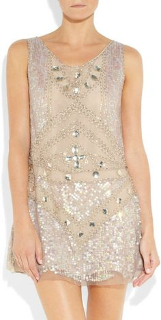 Anna Sui Embellished Tulle Mini Dress in Beige (cream) - Lyst