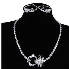 Silver Emo Fashion Scorpion Cocktail Party Evening Jewelry Set Sales SKU-10801387