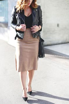 How to layer jewelry in Swarovski jewelry, Aritzia suede pencil skirt, Aritzia black camisole, Mackage leather jacket, Express black heels and Aritzia Wilfred fringe leather bag