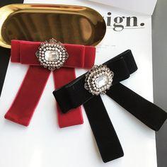 Black Red Vintage Pearl Ladies Men Pre Tied Velvet Bow Brooch Pin Or Tie String #Handmade