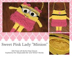 Crochet Sweet Pink Lady Minion Girl's Lined Bag Inspired by the Minions & Despicable Me Movies / Minion Bag / Minion Purse / Crochet Minion