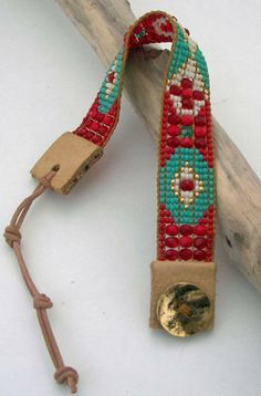 Turquoise/Red Bead Loom Bracelet by AdoraDesigns Bead Loom Bracelets, Beaded Bracelet Patterns, Bead Loom Patterns, Woven Bracelets, Bracelet Designs, Seed Bead Jewelry, Beaded Jewelry, Loom Beading, Bead Art