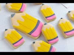 Decorated Pencil Cookies, Back To School Party http://www.youtube.com/watch?v=ODZAOXEFAwc