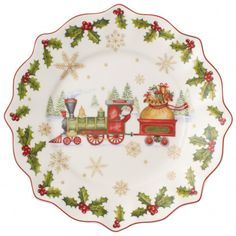 Villeroy & Boch 2017 Annual Christmas Edition Collectible Plate With Train Beautiful porcelain platter for your collection. Christmas Salad Plates, Christmas China, Christmas Dishes, Christmas 2017, Porcelain Doll Makeup, Porcelain Dolls Value, Fine Porcelain, Porcelain Jewelry, Porcelain Tile