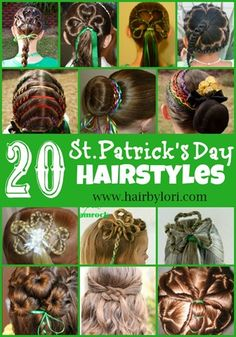 Looking for a great hairstyle to wear for St. Patrick's day? I have 20 awesome hairstyles for you, with links to tutorials for all! Come be inspired!!! Bebe'!!! Fun ideas!!!