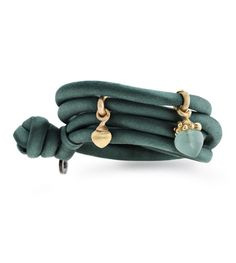 Ole Lynggaard Copenhagen Petroleum Blue silk bracelet with a mini dew drop in 18ct yellow and rose gold and a large green aquamarine and diamond dew drop in 18ct yellow and rose gold - Kennedy Jewellers