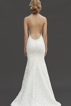 This deep cut. | 39 Wedding Dresses With Stunning Back Details You'll Swoon Over