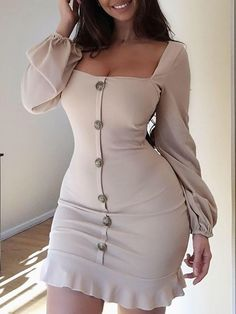 fa3b492ae0 Shop Single-Breasted Puff Sleeve Flutter Hem Dress – Discover sexy women  fashion at IVRose