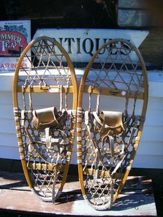 Antique Tubbs Snow Shoes White Ash and Cowhide by parkledge, $95.00