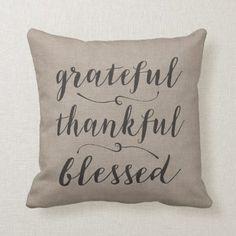 Grateful Thankful Blessed Rustic Script chevrons Throw