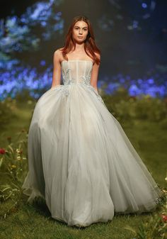 PSS/S1710 - French tulle ball gown with sheer corset, crinoline banding and Italian embroidery