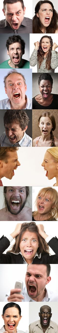 Men and women screaming faces