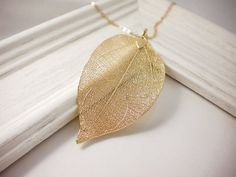 Real leaf necklace gold leaf nature necklace statement by AraMarie