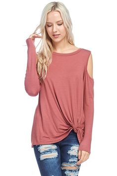 SOLID LONG SLEEVES FRONT KNOTTED *****OPEN SHOULDER TUNIC TOP    95% RAYON 5% SPANDEX      | Shop this product here: http://spreesy.com/ddstallons/68 | Shop all of our products at http://spreesy.com/ddstallons    | Pinterest selling powered by Spreesy.com