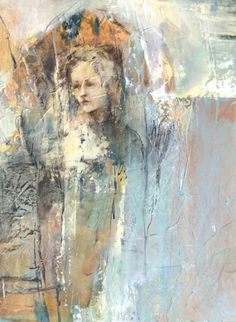 "Mixed Media Artists International: Mixed Media Abstract Portrait Painting ""Memory Enshrined"" by Intuitive Artist Joan Fullerton"
