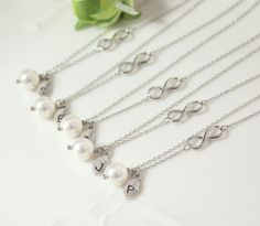 Bridesmaid gifts - Set of 5 -Leaf initial, white pearl necklace,Infinity charm, Personalized necklace, Swarovski Pearl, Bridesmaids Gift on Etsy, $84.00