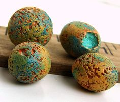 Rustic Polymer Clay Round Beads Erosion by BeadsByEarthTones