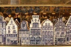 typical dutch houses made of pottery as souvenirs from delft .