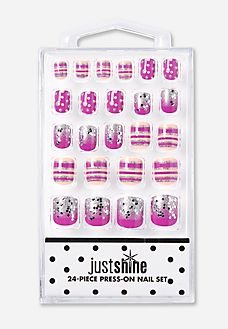 Just Shine Dot and Stripe Glittery Press On Nails