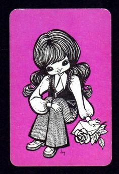 Vintage JOY Swap Card Pretty Girl With Rose Envelope ON Purple Blank Back | eBay