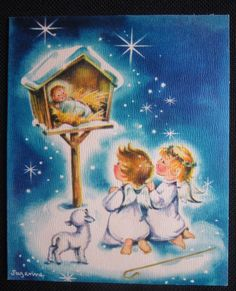 Vintage Christmas Greeting Card Angels Prayers Babe signed Suzanne Mid Century