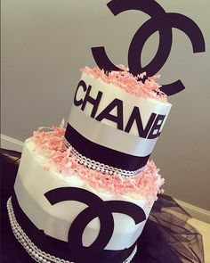 Chanel Themed Three Tier Diaper Cake With By JennyKnickDesigns · Chanel Baby  ShowerBlack ...