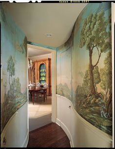 beautiful mural walls..when i was just a little girl...growing up...we have silk wall paper mural in our dining room...memories...luv, mommy