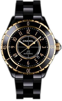 Black & gold Chanel watch. Want this so bad!