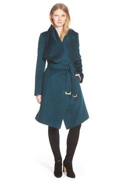 Diane Von Furstenberg 'Harlow' Drape Collar Wool Blend Wrap Coat | Nordstrom