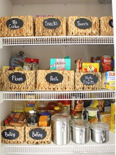 Tired of endlessly searching for the box of gelatin you know you picked up on your 38th trip to the supermarket? Reorganize your pantry by grouping like items in smart wicker baskets.